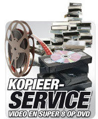 Kopieerservice voor 8mm film (single8, dubbel8, super8) en video (VHS-C, Video8, Hi8, Digital8 en MiniDV) overzetten op DVD